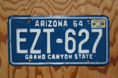 1964 1965 Arizona License Plate # EZT - 627
