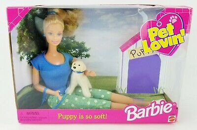 Barbie Pet Lovin' Mattel #23007 With Soft Puppy She Can Hold 1998 NRFB