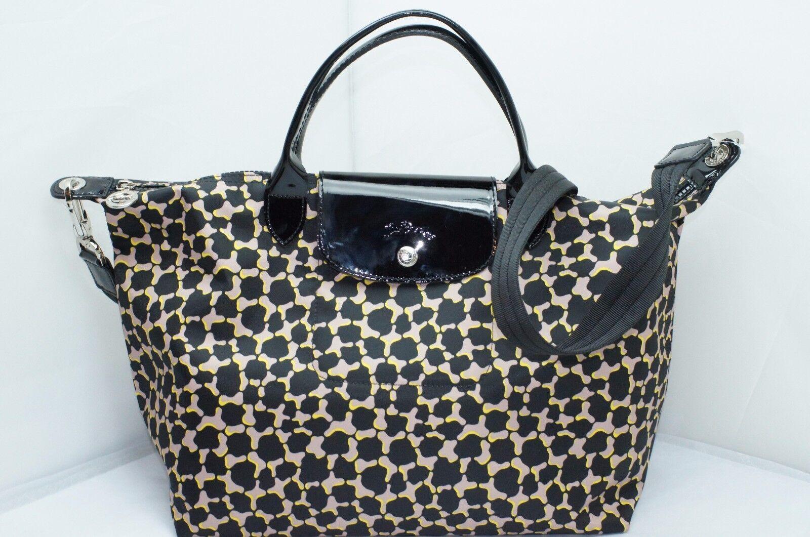 Upc 671194294423 Longchamp Le Pliage Neo Fantaisie Medium Geo Black Authentic Product Image For Fnt Shoulder Tote Bag Handbag