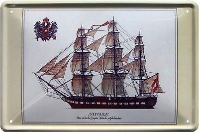 """Novara"" Fregatte Segelschiff Schiff Meer 20x30 cm Deko Blechschild 625"