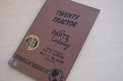 Caterpillar Twenty Tractor Crawler Dozer Parts Manual Book Catalog Vintage 20 L