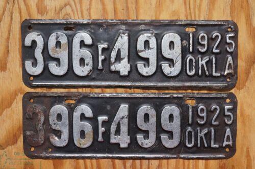 1925 Oklahoma Passenger License Plate PAIR / SET - Original Paint