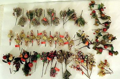 NEW 62 PC LOT CHRISTMAS COLLECTION ASSORTED FLORAL FRUIT BERRY STEMS PICKS CRAFT