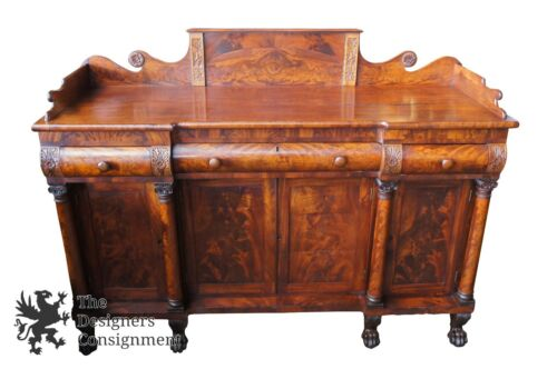 "Antique 1850s American Empire Flamed Mahogany Carved Server 72"" Sideboard Buffet"