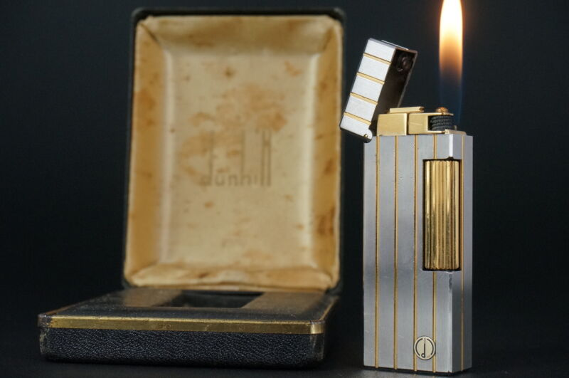 Dunhill Rollagas Lighter  Silver & Gold plated Working #W04