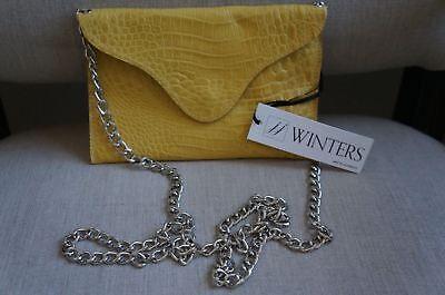 - JJ Winters Croco Embosd Leather Mini Envelope Crossbody Clutch HandBag Yellow