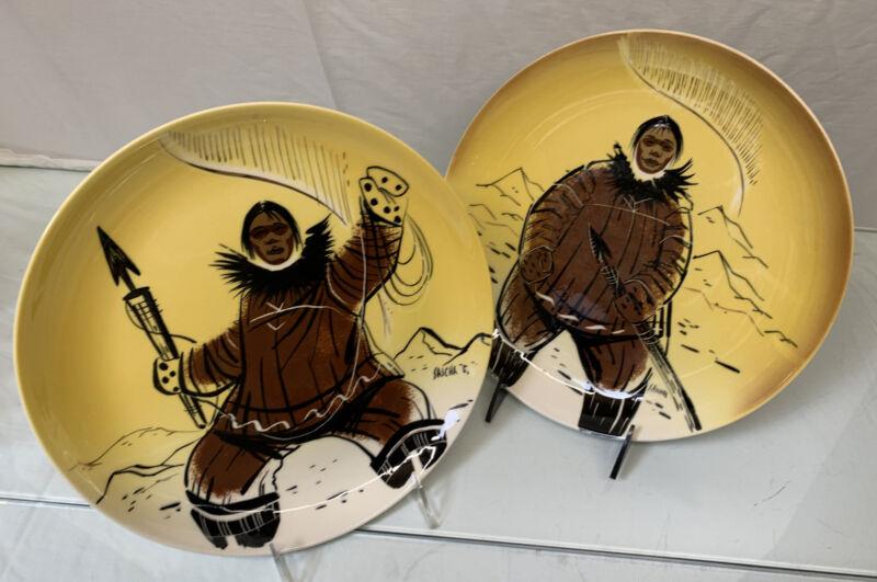 "Lot of 2  Vintage SASCHA BRASTOFF Pottery Alaska Dinner Plate 9.5"" Eskimo Signed"