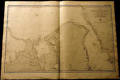 1858 RUSSIAN NAUTICAL Maritime Danish Map Øresund Denmark Copenhagen Baltic Sea
