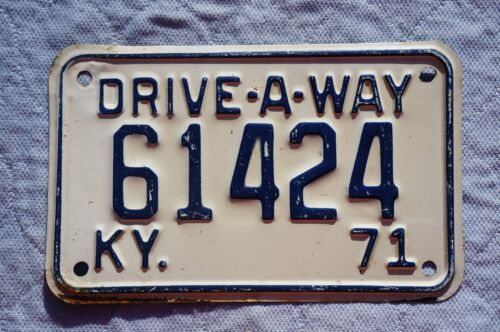 1971 Kentucky DRIVE A WAY License Plate