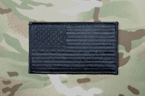 """Blackout Large 3"""" x 5"""" American Flag Patch USA SWAT Ghost Murdered Out All Black"""
