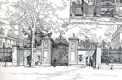 Harvard University Boston 1890 NEW COLLEGE GATES Design Antique Matted Art Print