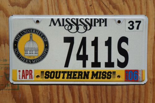 2006 UNIVERSITY OF SOUTHERN MISS MISSISSIPPI License Plate