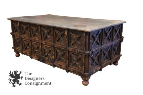 """Handmade Brutalist Dowry Trunk Carved Rustic Reclaimed Gothic Wood Chest 59"""""""