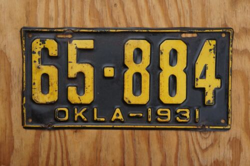 1931 Oklahoma License Plate - Original Paint