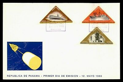 DR WHO 1965 PANAMA FDC SPACE CACHET TRANSPORTATION TRIANGLE COMBO IMPERF g21874