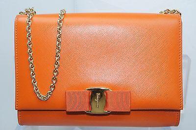 New Salvatore Ferragamo Miss Vara Bag Clutch Orange Crossbody