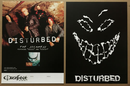 DISTURBED Rare 2001 OZZFEST TOUR DOUBLE SIDED PROMO POSTER for Sickness CD MINT