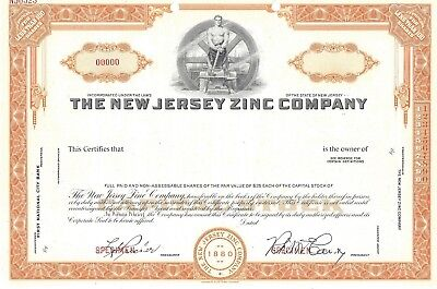 The New Jersey Zink Company Abn Specimen Common Stock Zertifikat