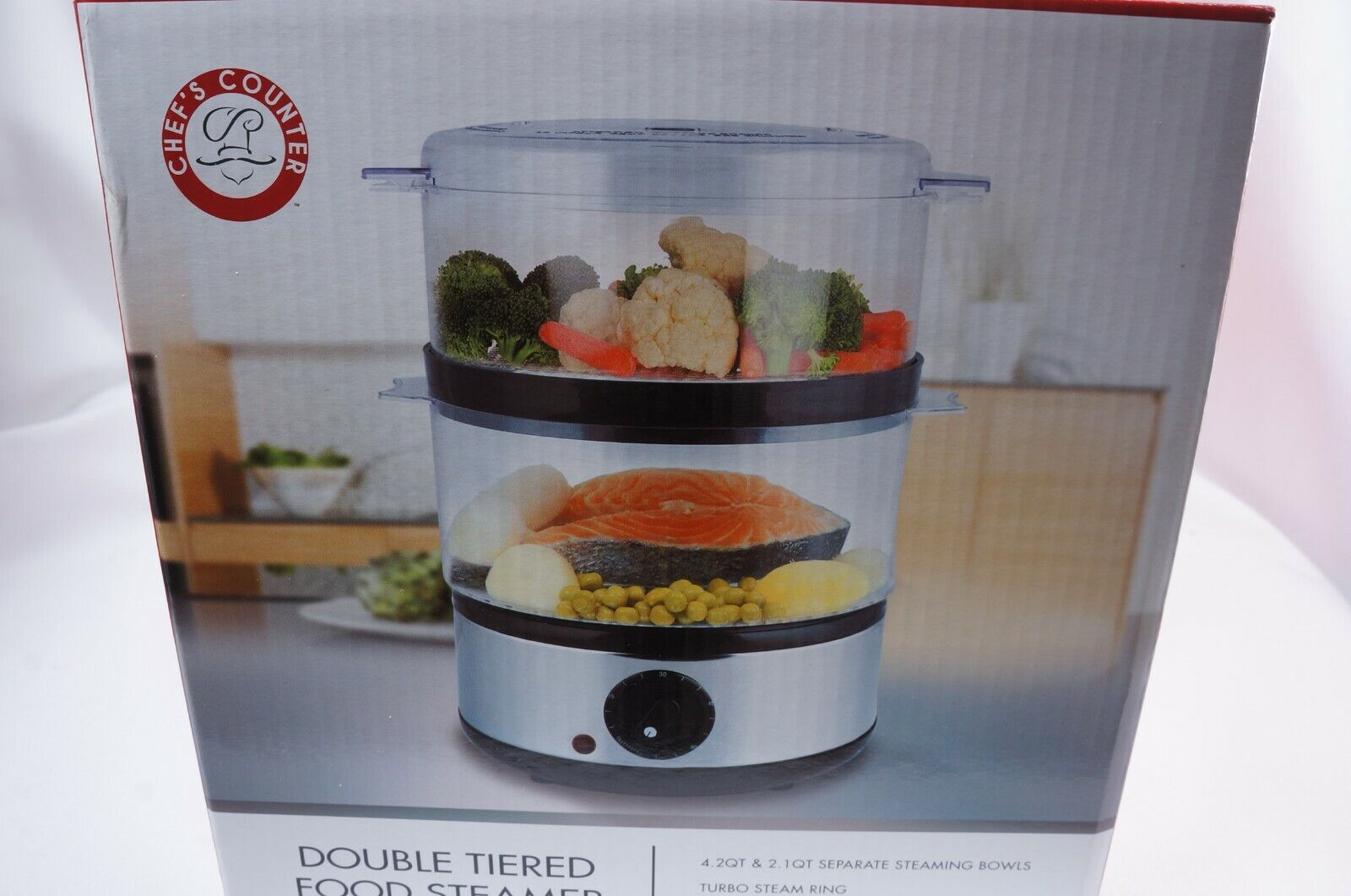 Chef's Counter Double Tiered Food Steamer 4.2 Qt 2.1 Steamin