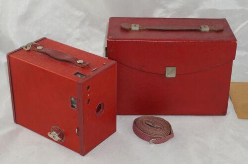 Eastman Kodak No. 2A Brownie Model C Red Camera w/ Case