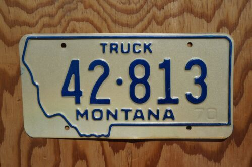 1970 Montana Big Sky TRUCK License Plate - Nice Original # 42 - 813
