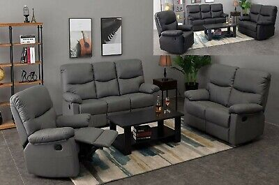 Grey Black Recliner Sofa Chair Armchair Luxury 1 2 3  Seater PU Leather Lounge