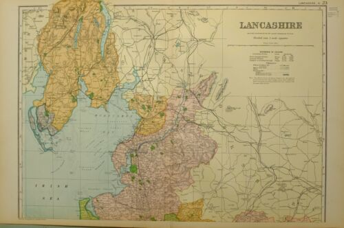 1902 MAP NORTHERN LANCASHIRE BARROW IN FURNESS LANCASTER FLEETWOOD CARTMEL