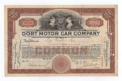 1922 Dort Motor Car Company Stock Certificate