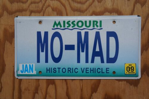 2009 MISSOURI Vanity License Plate >>  MO - MAD