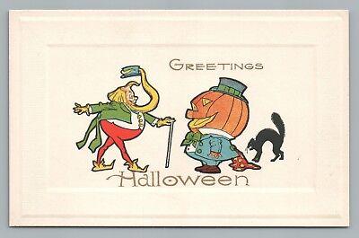 Fat Elf & Jack O Lanter Man GIBSON HALLOWEEN Antique Postcard Cat Fantasy 1910s - Fat Halloween Man