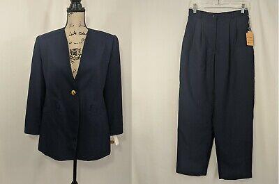 Casual Corner Blue 2 Piece Pants Collarless Blazer Suit Women Size 10 Formal