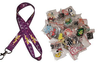 Disney World Pin Trading Lot Lanyard Starter Set Purple Tinkerbell w/ 10 Pins