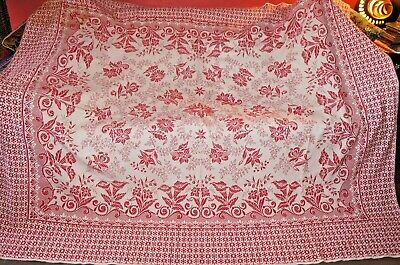 Vintage 40s 50s red white reversible jacquard weave fabric bedspread throw