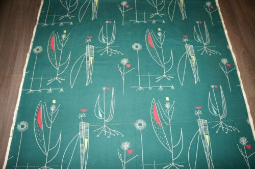 Lucienne Day original green Herb Anthony cotton fabric large length fabric
