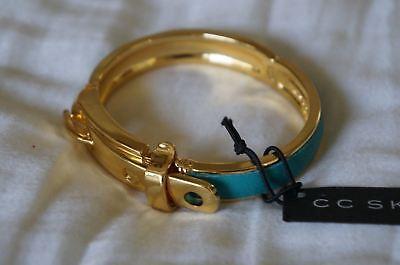 NEW Designer CC SKYE Single Python Buckle Hinged Bangle Bracelet Turquoise Cc Skye Gold Buckle Bracelet
