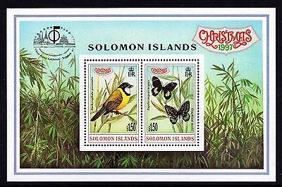Solomon Islands 1997 Christmas Miniature Sheet Birds Butterflies Unmounted Mint