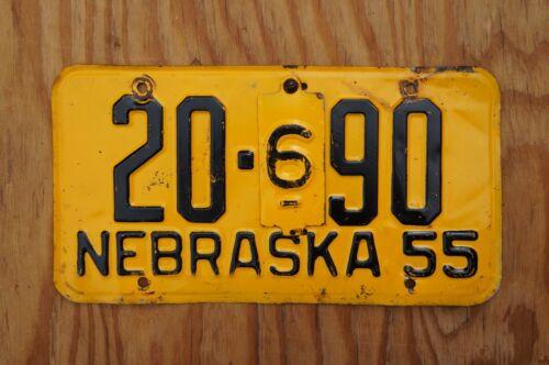 1955 Nebraska License Plate # 20 - 90  CASS COUNTY