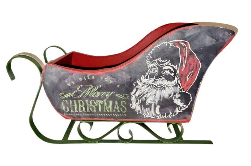 Wood Santa Sleigh Christmas Decor Metal Base