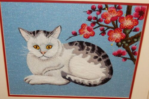 JAPANESE CAT AND BLOSSOMS TREE EMBROIDERY TAPESTRY PAINTING