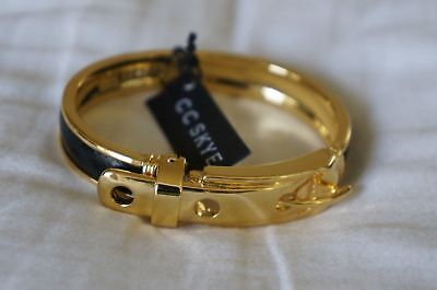 NEW Designer CC SKYE Single Python Buckle Hinged Bangle Bracelet Gold &Black Cc Skye Gold Buckle Bracelet
