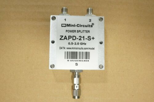 Mini-Circuits ZAPD-21-S+ 0.5-2.0GHz 10W SMA 2 Ways DC Pass Power Splitter
