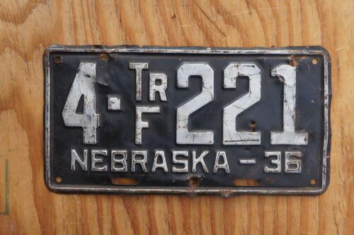 1936 Nebraska License Plate - Original Paint