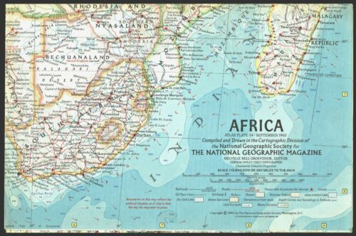 ⫸ 1960-9 September Vintage Map of AFRICA – National Geographic Society B