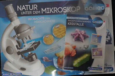 Galileo Mikroskop weiß und Kristalle züchten ab 8 Jahren Clementoni