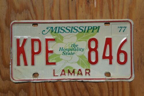 1977 LAMAR County Mississippi - Large Magnolia License Plate