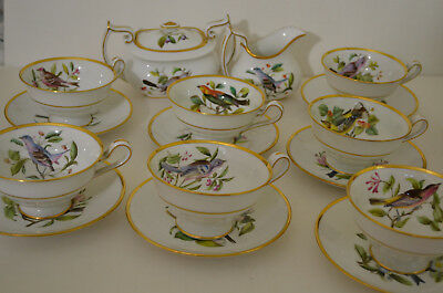 COPELAND SPODE ENGLAND AUDUBON BIRD SET OF 7 CUPS WITH SAUCER,SUGAR BOWL,CREAMER