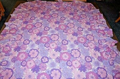 fabric valance textile sheet frilled vintage 70s purple shades flower power DBL