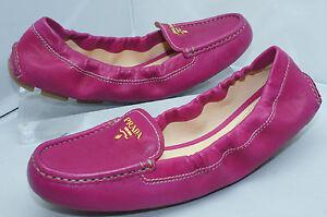 Prada-Womens-Shoes-Calzature-Donna-Nappa-Pink-Moccasins-Flats-Size-39-5-NIB