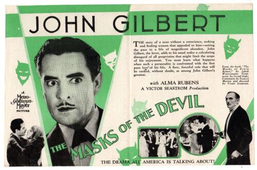 THE MASKS OF THE DEVIL - 1928 Silent Film JOHN GILBERT Movie Herald ALMA RUBENS