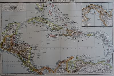 Victorian Map 1896 of CENTRAL AMERICA & WEST INDIES The Times Atlas 1st Gen
